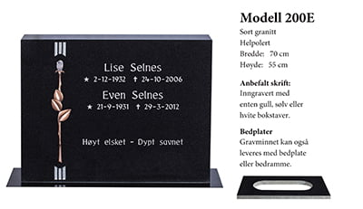 Gravstein - Modell nr. 200E - Sort granitt - Helpolert
