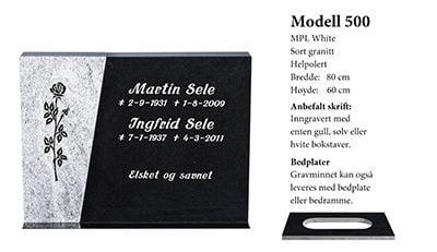 Modell nr. 500 – Mpl/Sort granitt