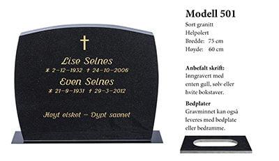 Modell nr. 501 – Sort granitt