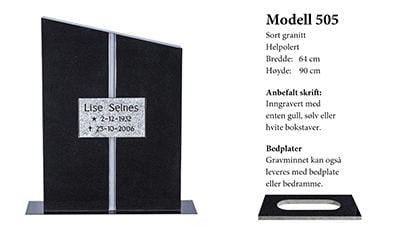Modell nr. 505 – Sort granitt
