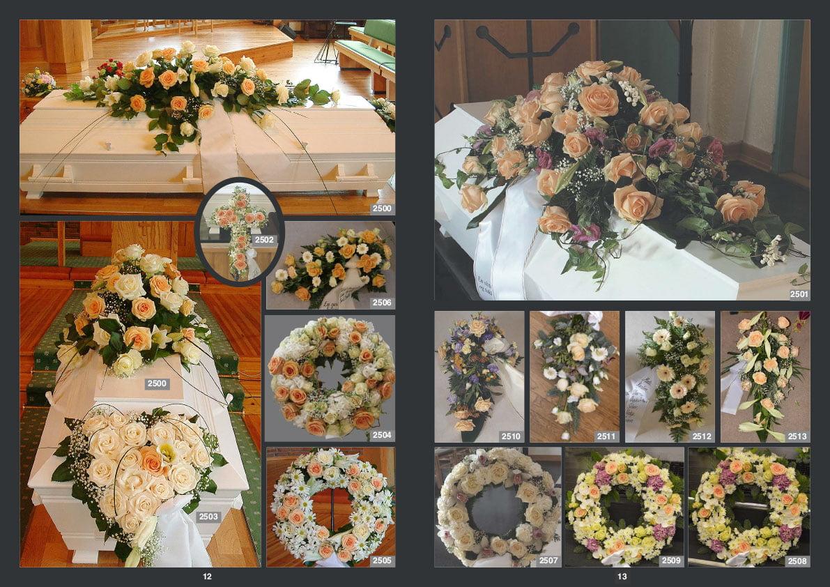 Blomster til begravelse. Båredekorason, kors, kranser, buketter, oppsats