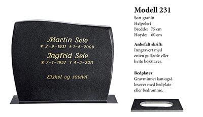 Modell 231 – Sort granitt