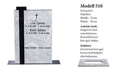 Modell nr. 510 – MPL/Sort granitt