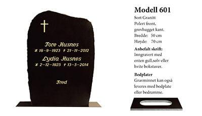 Modell nr. 601 – Sort granitt
