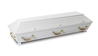 Hvitmalt furukiste med profiler og messingfargede hengehåndtak. (Kan leveres i alle farger) Pris kr. 10.200,-